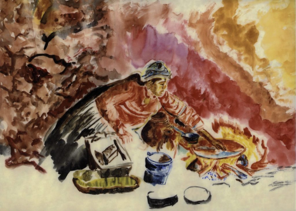 Mujer echando tortillas, el tlecuilli sobre el piso. Pastel sobre albanene. Autor desconocido, colección familiar.