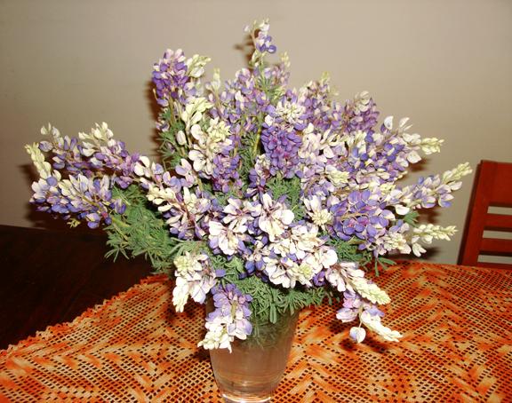 Alhelís, -las flores favoritas de mi suegra-, en florero de cristal y mantel tejido a gancho por mi suegra, me lo regalo un día de mi cumpleaños. Fotógrafa Lilia Martínez.