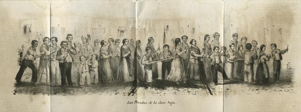 """1854, Artículo de costumbres, """"Las posadas de la clase baja"""", El Estravagante. Primer Calendario para 1855. Imprenta de Juan R. Navarro. Méjico. Biblioteca Fototeca Lorenzo Becerril A.C."""