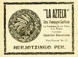 "Sidra Champagne Gasificada ""La Azteca"", Cosechero Gabriel Guerrero. Viñeta, Centro de Documentación Fototeca Lorenzo Becerril A.C."