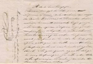 Modo de hacer rompope, Valeria de la Riva, Quecholac, 8 de octubre de 1862, en la tarde a las cuatro de ella, manuscrito, hoja suelta. Centro de Documentación Fototeca Lorenzo Becerril A.C.