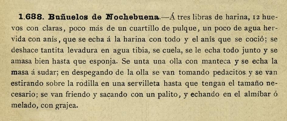 """Buñuelos de Nochebuena, """"La Cocinera Poblana"""", Herrero Hermanos Sucesores, México, 1907. Biblioteca Lorenzo Becerril A.C."""