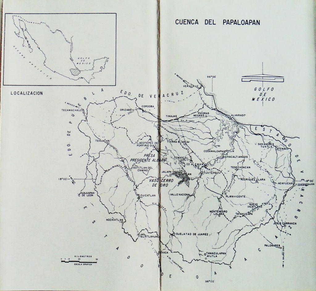 """Folleto. Localización de la """"Cuenca del Papaloapan"""", Comisión del Papaloapan, S.R.H., 1975. Centro de Documentación Fototeca Lorenzo Becerril A.C."""