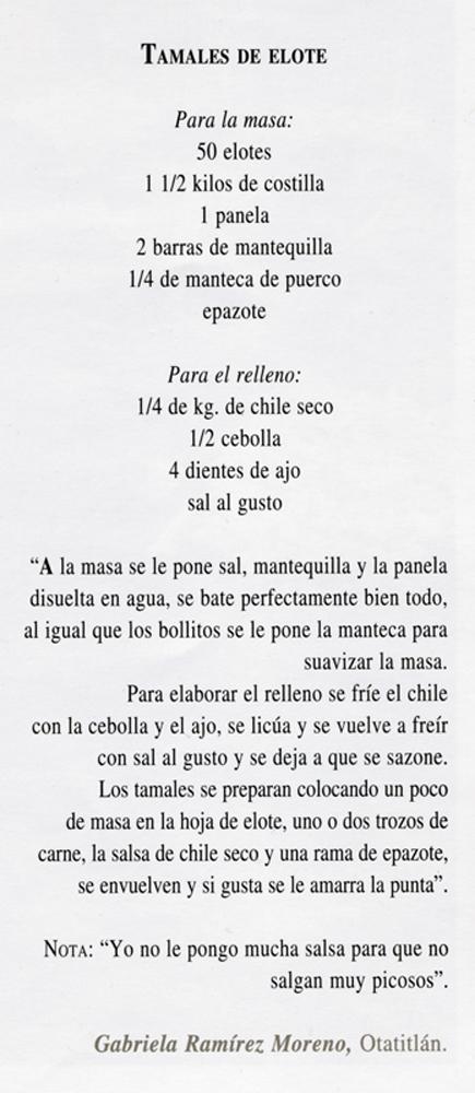 """Receta """"Tamales de elote"""" de Gabriela Ramírez Moreno, en el Calendario-Recetario """"La Cuenca del Papaloapan"""". Biblioteca de la Fototeca Lorenzo Becerril A.C."""