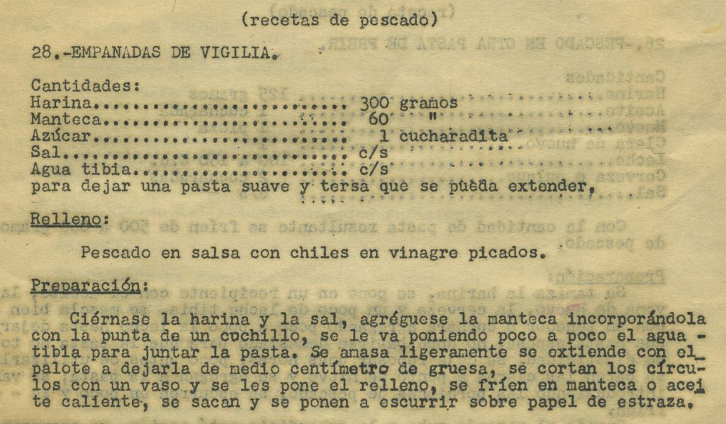 Empanadas de vigilia. Documento mecanoescrito Centro de Documentación Fototeca Lorenzo Becerril A.C.