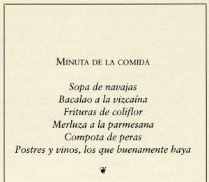 """Minuta de la comida para el """"Miércoles de Ceniza"""", del libro """"Vigilia reservada. Minutas y recetas"""". Biblioteca de la Fototeca Lorenzo Becerril A.C."""