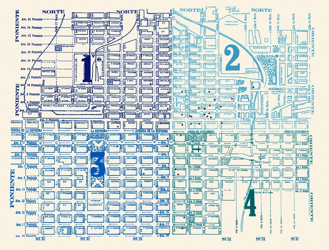 """Mapa de la Ciudad que muestra la conocida traza española, """"Puebla en el bolsillo. Directorio Práctico de las Calles de la Ciudad"""", Autor desconocido, s/f. Biblioteca Fototeca Lorenzo Becerril A.C."""