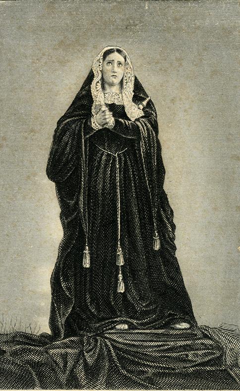 Virgen de los Dolores, autor desconocido, grabado. Centro de documentación de la Fototeca Lorenzo Becerril A.C.