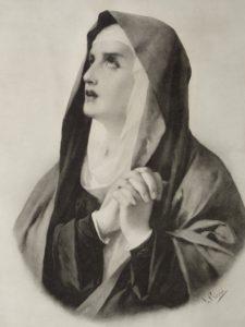 Virgen de los Dolores, L. Cosío, litografía. Centro de documentación de la Fototeca Lorenzo Becerril A.C.