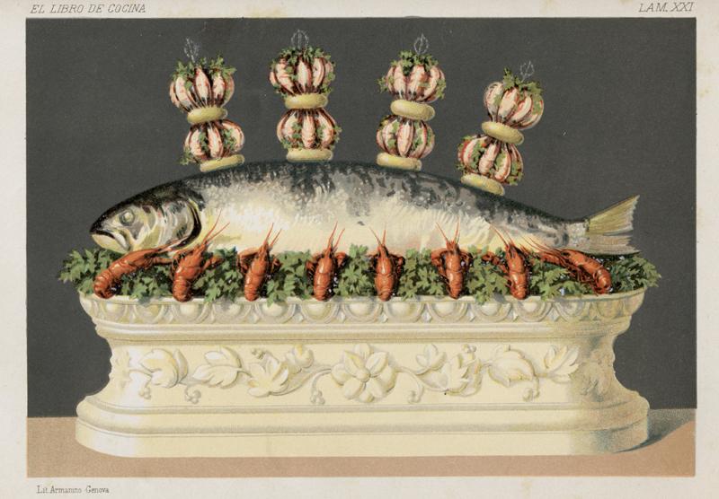 """Salmón en mayonesa, """"El libro de cocina"""" de Jules Gouffé. Antiguo jefe de cocina del Jockey-Club de París Madrid, Librerías de A. De San Martín, Editor, 1885. Biblioteca de la Fototeca Lorenzo Becerril A.C."""