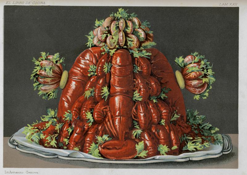 """Buisson de mariscos, """"El libro de cocina"""" de Jules Gouffé. Antiguo jefe de cocina del Jockey-Club de París Madrid, Librerías de A. De San Martín, Editor, 1885. Biblioteca de la Fototeca Lorenzo Becerril A.C."""