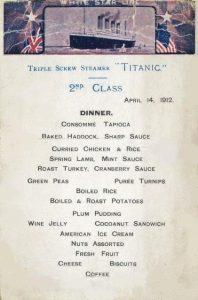 Menú del comedor de 2da. clase del RMS Titanic. Imagen de la WEB.