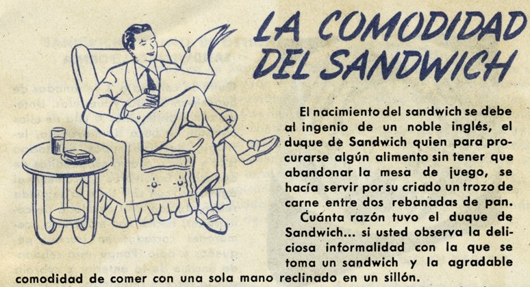 La comodidad del Sandwich, viñeta, publicidad Bimbo. Centro de documentación Fototeca Lorenzo Becerril A.C.