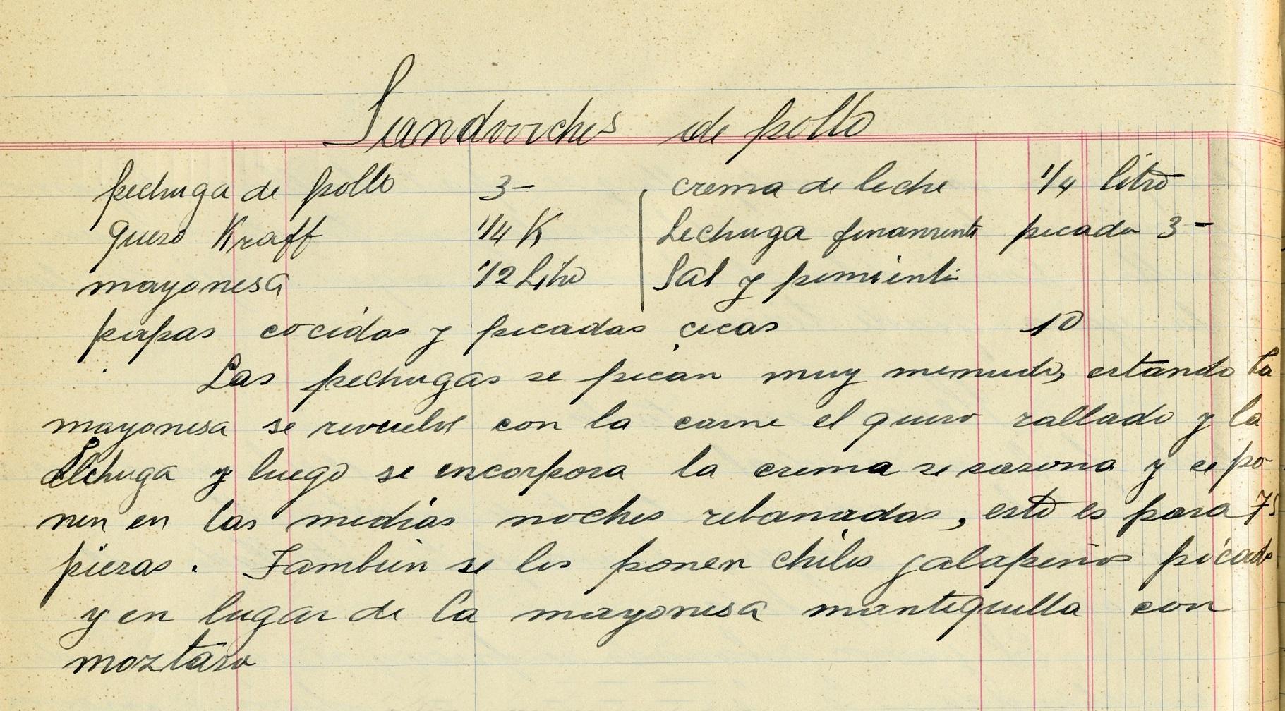"""""""Sandwchis de pollo"""", Recetario manuscrito de Amparo Gómez, 1929. Centro de documentación Fototeca Lorenzo Becerril A.C."""