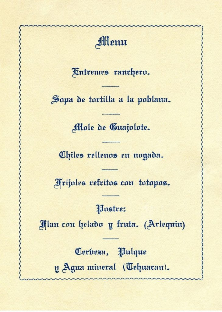 Menú que consiste en poner a disposición de los convidados, el detalle exacto de la comida que se les ofrece. Centro de documentación Fototeca Lorenzo Becerril A.C.