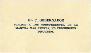Tarjeta de petición incorporada al menú del banquete de Maximino Ávila Camacho. Centro de documentación Fototeca Lorenzo Becerril A.C.