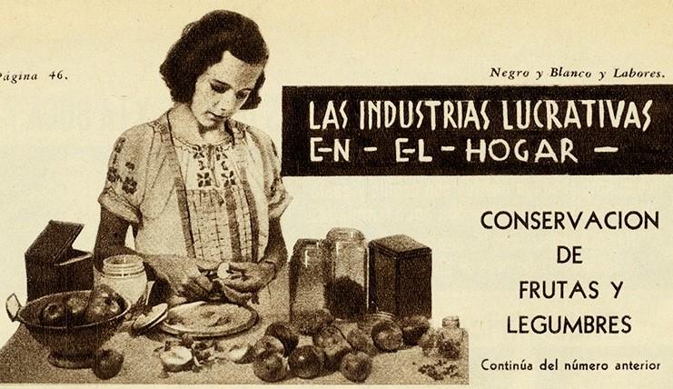Viñeta conservación de frutas y legumbres. Centro de Documentación Fototeca Lorenzo Becerril A.C.