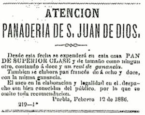 Anuncio de la panadería San Juan de Dios publicado en el Boletín Municipal, 1886.