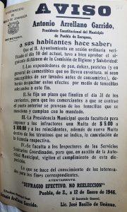 Aviso de las nuevas Disposiciones Municipales, Archivo General Municipal de Puebla.