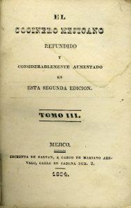 Portadilla del libro el Cocinero Mejicano tomo III, 1834. Biblioteca de la Fototeca Lorenzo Becerril A.C.