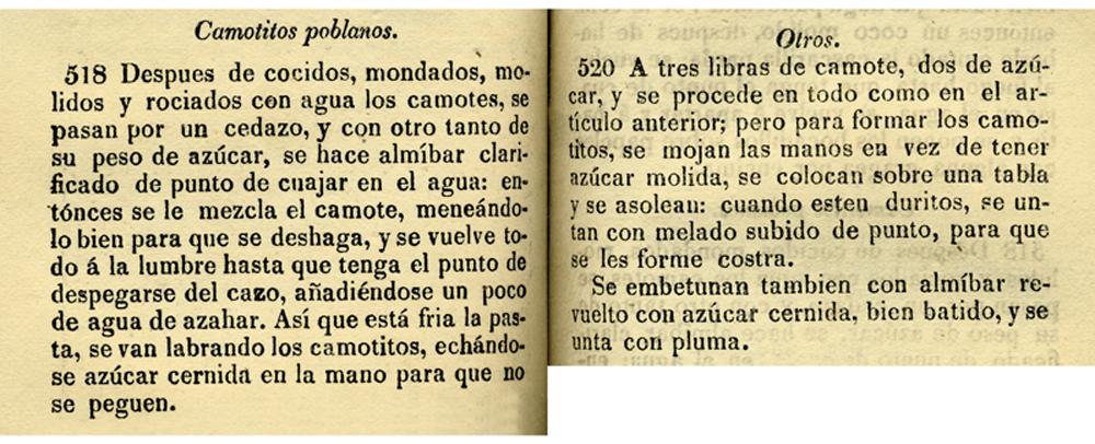 Recetas 518 y 520 del libro el Cocinero Mejicano tomo III. Biblioteca de la Fototeca Lorenzo Becerril A.C.