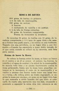 "Receta ""Rosca de Reyes"" del libro Cocina del Hogar por ""Margarita"", Editora Mexicana, S.A., México D.F., 1942. Fototeca Lorenzo Becerril A.C."