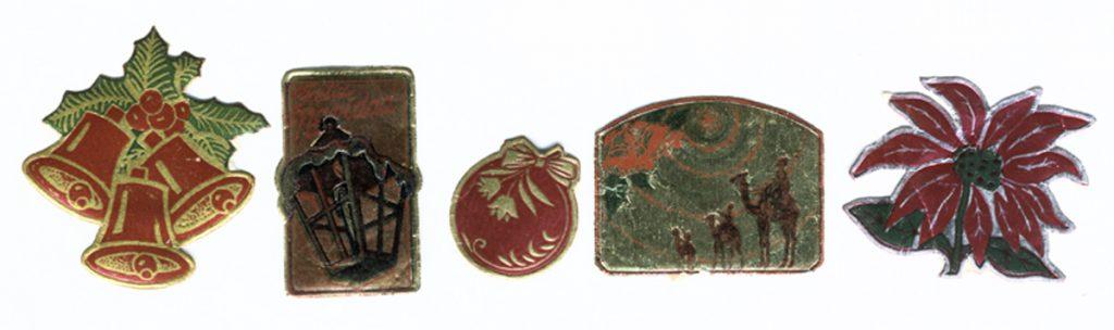Etiquetas con motivos navideños para envolturas de regalo. Centro de Documentación Fototeca Lorenzo Becerril A.C.