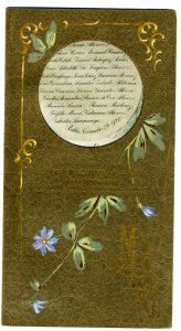 Menú de los amigos de Zulueta, realizado en cartulina de algodón, los motivos ornamentales de la portada están pintados a mano. Centro de Documentación Fototeca Lorenzo Becerril A.C.