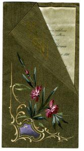 Menú de Tomas Zulueta y Aldama, realizado en cartulina de algodón, los motivos ornamentales de la portada están pintados a mano, incluido el monograma. Centro de Documentación Fototeca Lorenzo Becerril A.C.