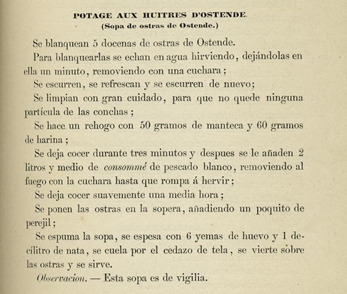 """Sopa de Ostiones"", receta de ""El libro de cocina"" de Jules Gouffé. Biblioteca de la Fototeca Lorenzo Becerril A.C."