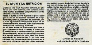 """Viñeta, Recetario """"Vamos a comer atún. El atún y la nutrición"""". Biblioteca de la Fototeca Lorenzo Becerril A.C."""