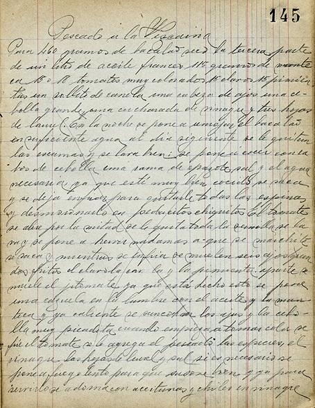 Recetario manuscrito de Aurora Monterrubio de la Peña. Centro de documentación Fototeca Lorenzo Becerril A.C.