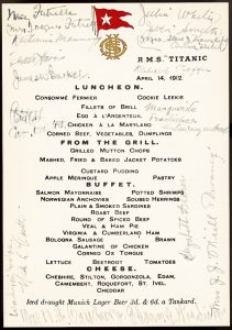 Menú del RMS Titanic. Era común que las personas firmasen los menús para tener un recuerdo memorable. Imagen de la WEB.