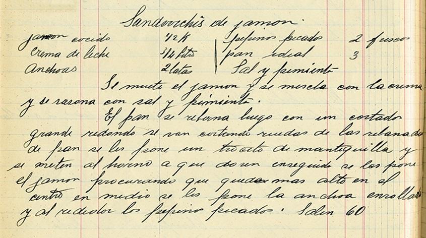 Sandwchis de jamón, Recetario manuscrito de Amparo Gómez, 1929. Centro de documentación Fototeca Lorenzo Becerril A.C.