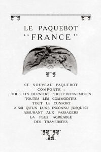 """Le Nouveau Paquebot """"France"""" de la Compagnie Générale Transatlantique, promocional. Centro de Documentación Fototeca Lorenzo Becerril A.C."""