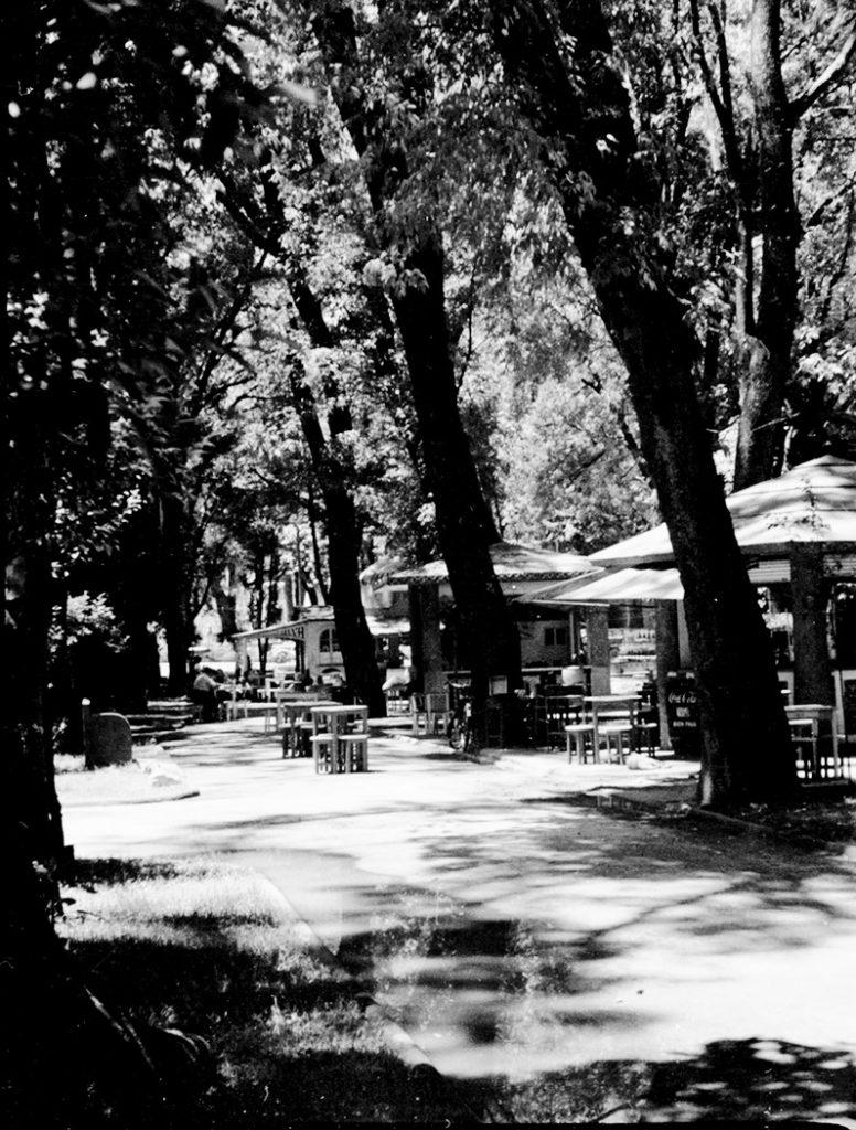 Kioscos de chalupas en el Paseo de San Francisco, Fotógrafo Juan Crisóstomo Méndez, 1947. Fototeca Lorenzo Becerril A.C.